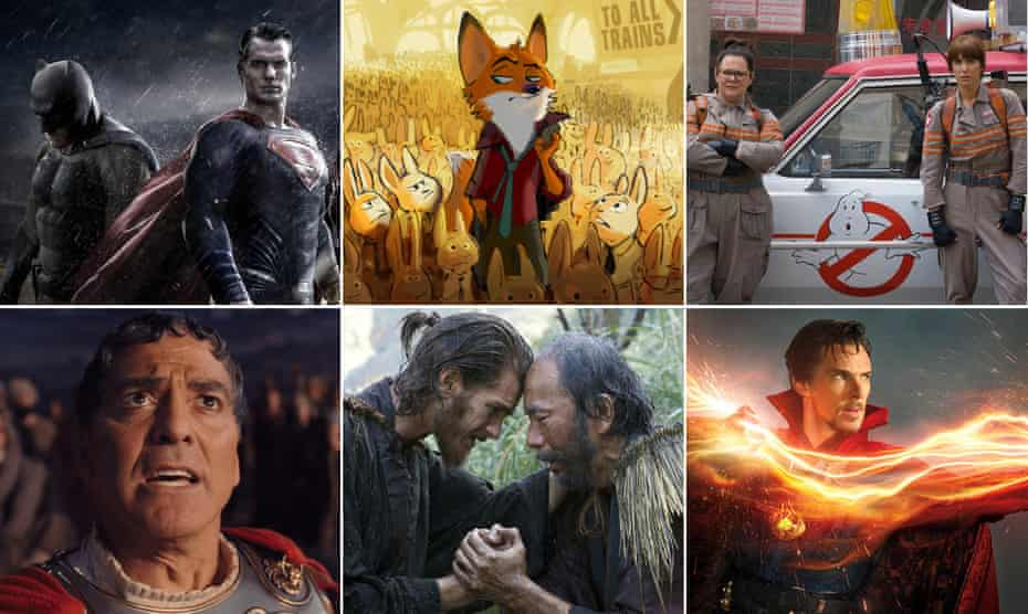 Films of 2016, clockwise from top left … Batman v Superman; Disney's Zootopia; Ghostbusters Melissa McCarthy and Kristen Wiig; Benedict Cumberbatch as Dr Strange; Andrew Garfield and Shin'ya Tsukamoto in Silence; George Clooney in Hail! Caesar!