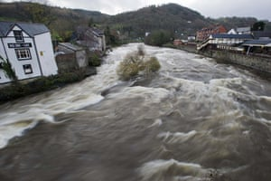 River Dee in flood at Llangollen Bridge, Wales