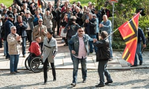 Lutz Bachmann,  co-founder of Germany's Pegida movement, at court for hate speech trial