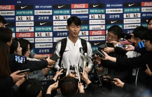 Son Heung-min speaks to the media upon his arrival at Incheon airport.