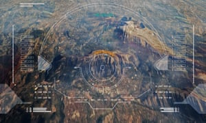 Illustration: an aerial heads-up display of terrain