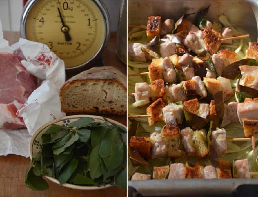 Rachel Roddy's spiedini, or pork skewers with bay and fennel.