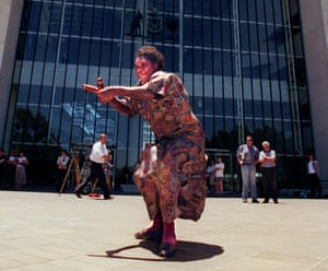 Gladys Tybingoompa dances outside the high court in Canberra following the decision in which the Wik people won native title over their land.