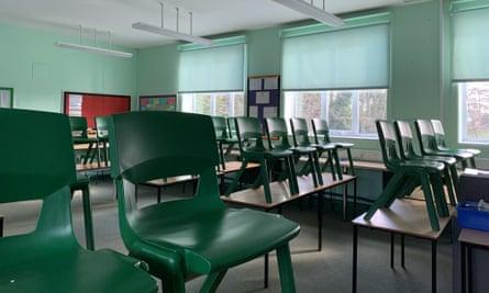 An empty school classroom in Chippenham in March