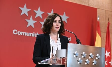 Isabel Díaz Ayuso holds a press conference after a regional government meeting in Madrid