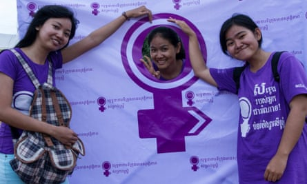 Women at the launch of a safe cities campaign to end violence against women, launched in July 2014.