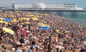 Crowded beach in Brighton
