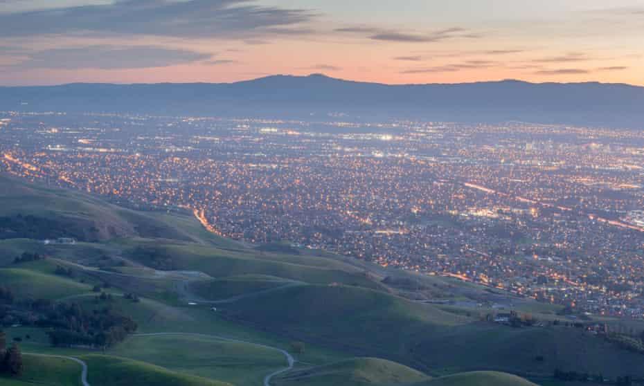 View over Silicon Valley, California.