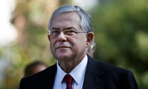 Former Greek prime minister Lucas Papademos, who sustained wounds to his right thigh and upper body.