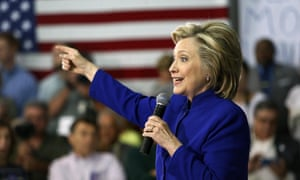 Democratic presidential candidate Hillary Rodham Clinton speaks during a campaign stop at River Valley Community College in Claremont, New Hampshire.