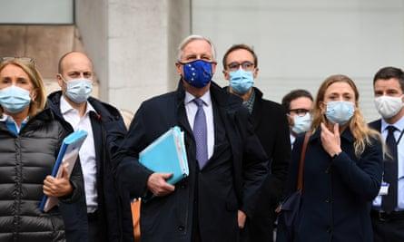 The EU's chief Brexit negotiator, Michel Barnier, and his team in London