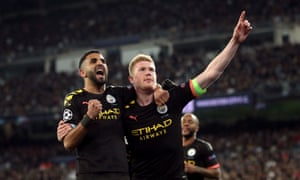 Kevin De Bruyne celebrates scoring his side's second goal.