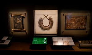 The diverse range of exhibitions at the Encounters exhibition includes weapons, tools, baskets and artworks.