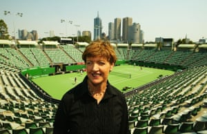 Margaret Court stands by the renamed Court One at Melbourne Park in 2003.