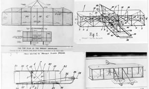 The Wright brothers' patent drawings for their aeroplane (1908).