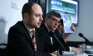 Vladimir Kara-Murza (left) with Boris Nemtsov at the launch in January 2014 of a report alleging corruption and abuse in the preparations for the Sochi Winter Olympics