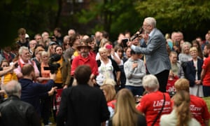 Jeremy Corbyn addresses a European election campaign rally in Bootle on 18 May.