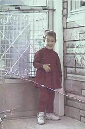 Ona, aged three, with the leg brace she had to wear.