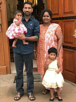 Tamil asylum seekers Nadesalingam and Priya and their Australian-born daughters, Tharunicaa and Kopika