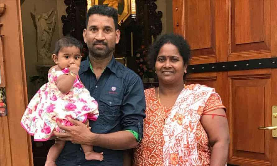 Tamil asylum seeker husband and wife Nades and Priya and one of their Australian-born daughters Tharunicaa