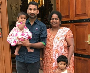 Tamil asylum seekers Nadesalingam and Priya and their Australian-born daughters, nine-month-old Dharuniga and two-year-old Kopig, who were taken into immigration detention after a dawn raid on 5 March