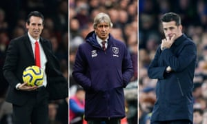 Unai Emery, Manuel Pellegrini and Marco Silva are under pressure at Arsenal, West Ham and Everton respectively
