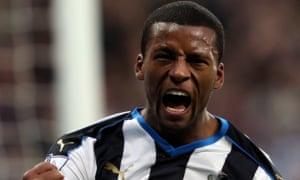 Newcastle United's Georginio Wijnaldum celebrates his goal against Liverpool.