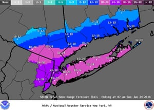 The National Weather Service released this image of predicted snow totals just before noon on Saturday.