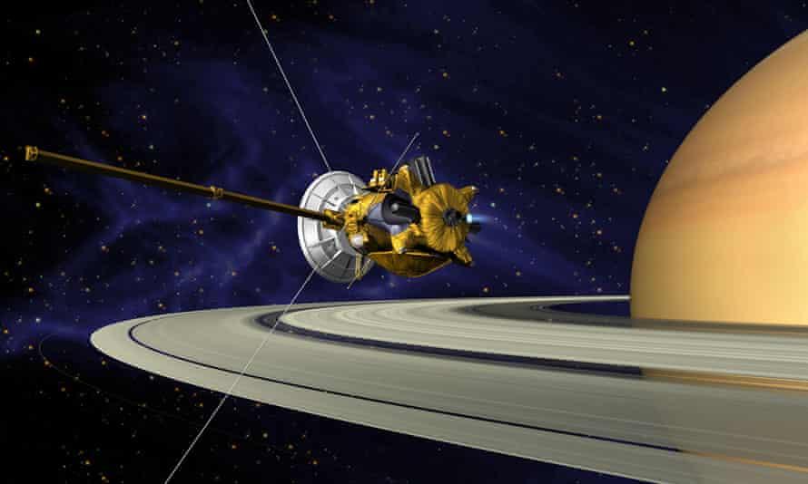 An artist's conception of Cassini's Saturn orbit insertion