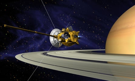 An artist's conception of Cassini's Saturn orbit insertion