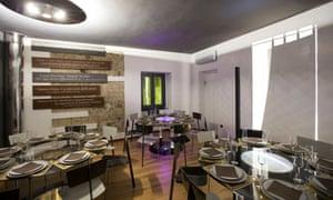 Minimalist-design restaurant interior at Pepe in Grani, Italy.