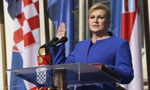 Kolinda Grabar-Kitarovic being sworn in during an inauguration ceremony in Zagreb, Croatia, in 2015.