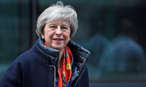 Theresa May leaves the BBC after taking part in a live radio phone-in.