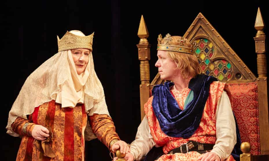 Kept afloat by his mother's blind love … Maggie Steed (left) as Elinor and Jamie Ballard as King John.