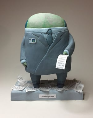 Tan made models of the characters and scenes which he then painted. This is an early sculpture of the office-bound protagonist.