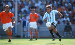 Argentina's Gabriel Batistuta of Argentina surges forward,