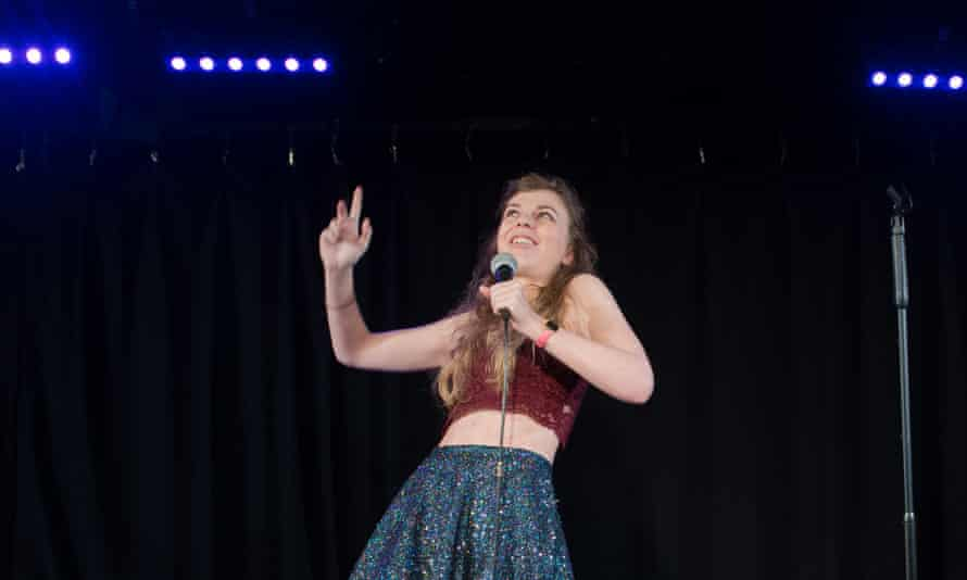 Lauren Pattison performing before her show at Soho Theatre in London.