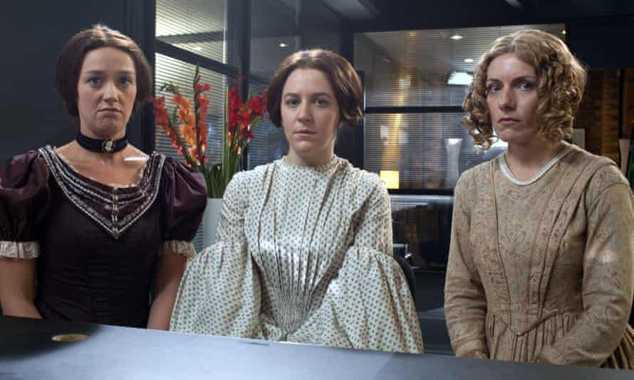 Horrible Histories: Staggering Storytellers, featuring the Bronte sisters Charlotte (Jess Ransom), Emily (Gemma Whelan), and Anne (Natatlie Walter).