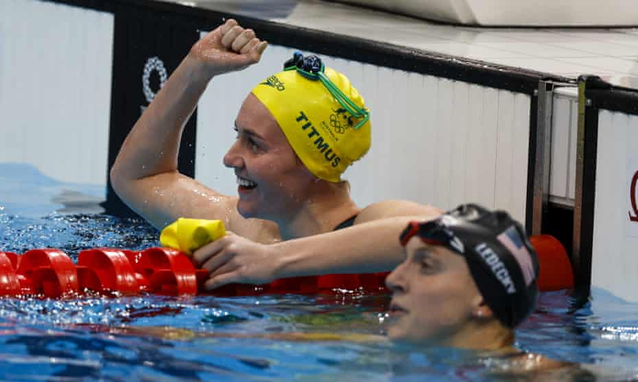 Ariarne Titmus reacts after beating Katie Ledecky in the final fo the 400m freestyle at the Tokyo Aquatics Centre.