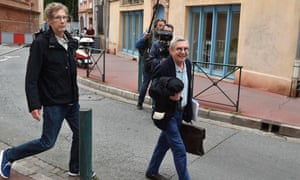 Gilles Bertin, left, who took part in the robbery of a Brink's storage in April 1988 in Toulouse, and his lawyer Christian Etelin, walk towards the court in Toulouse on Wednesday.