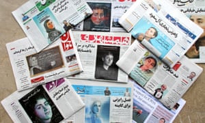 Sunday's front pages of Iranian newspapers bearing portraits of the scientist Maryam Mirzakhani, who died of cancer..