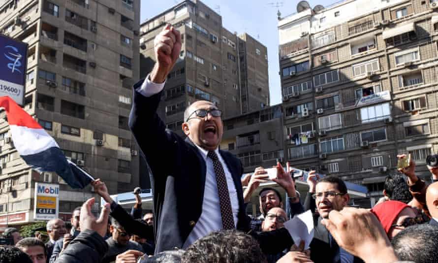 Khaled Ali addresses a crowd in January