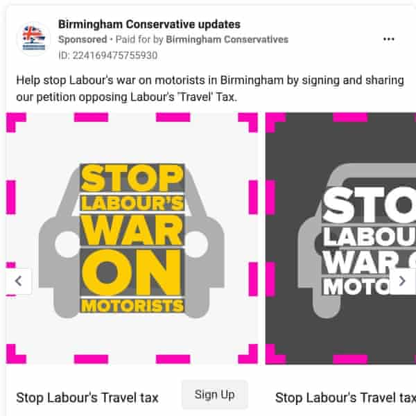 A Facebook ad that reads 'help stop Labour's war on motorists'