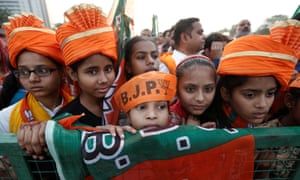 Supporters of Modi's Bharatiya Janata party at a rally in New Delhi.