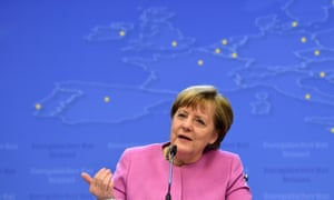 German chancellor Angela Merkel addresses a press conference at end of the summit.