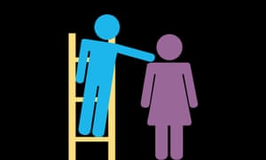 graphic of a blue man on a ladder pushing a purple woman in a dress