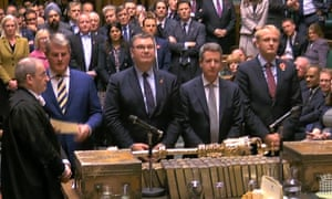 Tellers in the Commons on Tuesday 29 October giving the result of the vote to hold an early general election.
