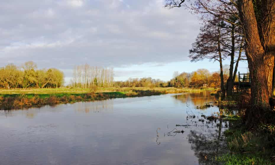 A view of the upper reaches of the River Bure in winter at Lamas