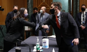 Avril Haines bumps elbows with Sen. Ben Sasse (R-NE) before the start of her confirmation as the nominee for Director of National Intelligence - 19 Jan 2021.