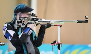 Bronze medalist Seonaid Mcintosh of Scotland competes during the women's 50m Rifle 3 Positions Final during Gold Coast 2018 Commonwealth Games.